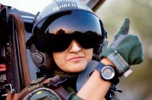 Ayesha Farooq, 26, Pakistan's only female war-ready fighter pilot, gives the thumb-up sign from the cockpit of a Chinese-made F-7PG fighter jet at Mushaf base in Sargodha