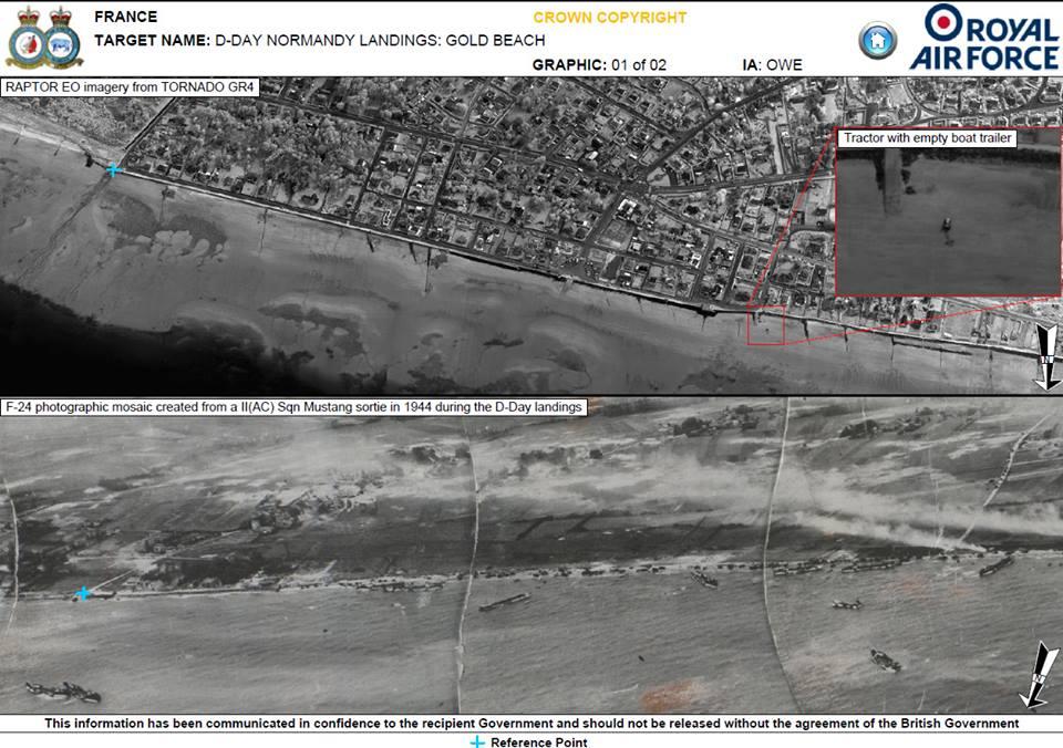 Bagian atas dari foto terebut adalah gambar yang diambil pada Juni 2014 di daerah Juno, Utah dan Pantai Sword sementara bagian bawah adalah foto di lokasi yang sama 70 tahun lalu. Inilah lokasi penting dalam D-Day