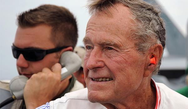The ship takes her name from the 41st president, who served as a naval aviator during WWII, where he was shot down during a mission in the Pacific theater. Pictured, Bush visits his namesake ship during training exercises.