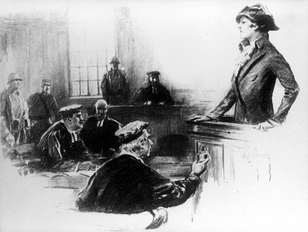 Mata Hari, penari Belanda dan adventuress, dituduh melakukan spionase untuk Jerman, selama gugatannya, 1917. (Digambar oleh Wightman)
