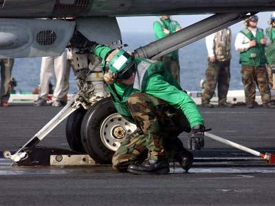 A member of the USS George Washington flight-deck crew checks an F-14 Tomcat's catapult attachment. Photo courtesy U.S Navy