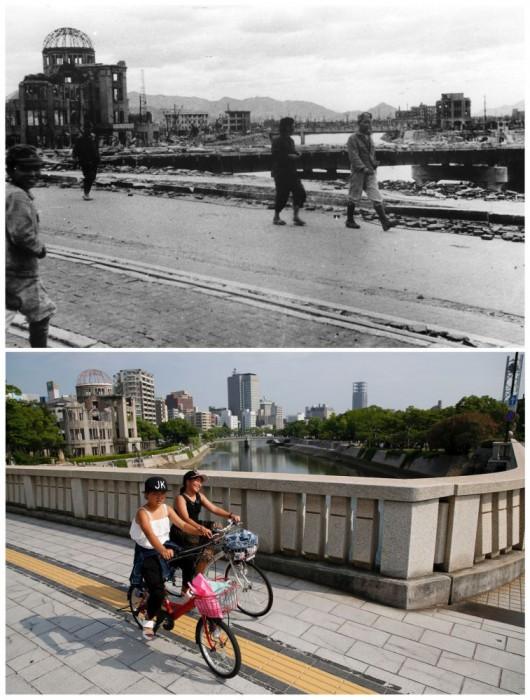 Sebuah gambar kombinasi menunjukkan Hiroshima Prefectural Industri Promosi Hall yang musnah (kiri), dalam handout ini foto diambil oleh Shigeo Hayashi pada bulan Oktober 1945 dan dirilis oleh Hiroshima Peace Memorial Museum (atas), dan lokasi yang sama pada tanggal 28 Juli 2015.