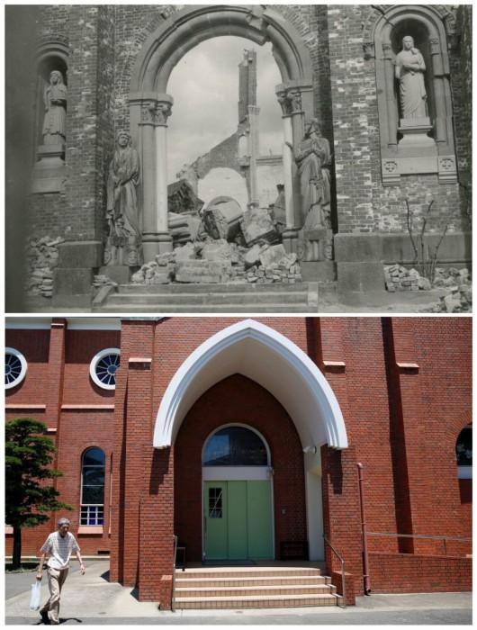 Katedral Urakami, yang hancur oleh bom atom Nagasaki pada 9 Agustus 1945 dan Katedral dibangun kembali, 31 Juli 2015.