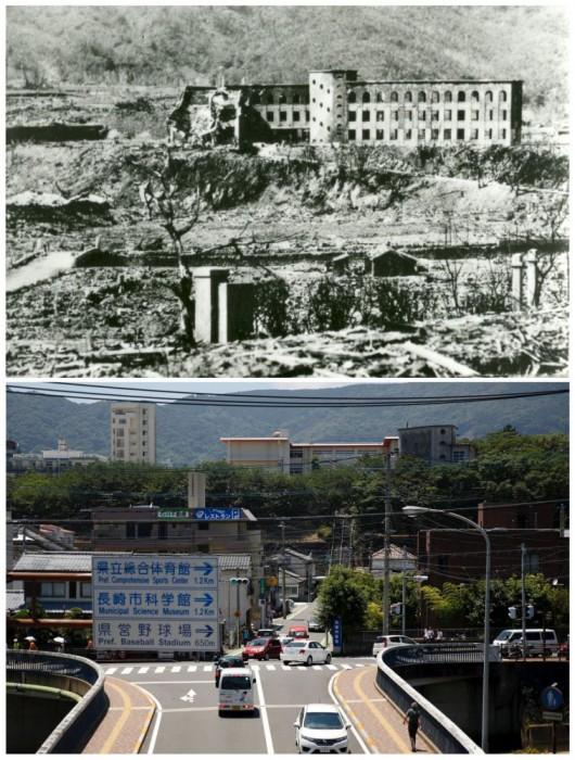 Permukaan jalan Yorozuyo Bridge yang rusak karena panas dari bom atom Hiroshima pada 6 Agustus 1945, dalam handout ini foto diambil oleh Angkatan Darat AS antara bulan Oktober dan November 1945 dan didistribusikan oleh Hiroshima Peace Memorial Museum (atas), dan lokasi yang sama
