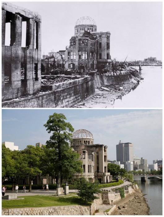 Hiroshima Prefectural Industri Promosi Hall Hiroshima setelah bom atom pada 6 Agustus 1945, dalam foto handout ini diambil oleh Masami Oki pada tanggal 20 Agustus 1945 dan didistribusikan oleh Hiroshima Peace Memorial Museum