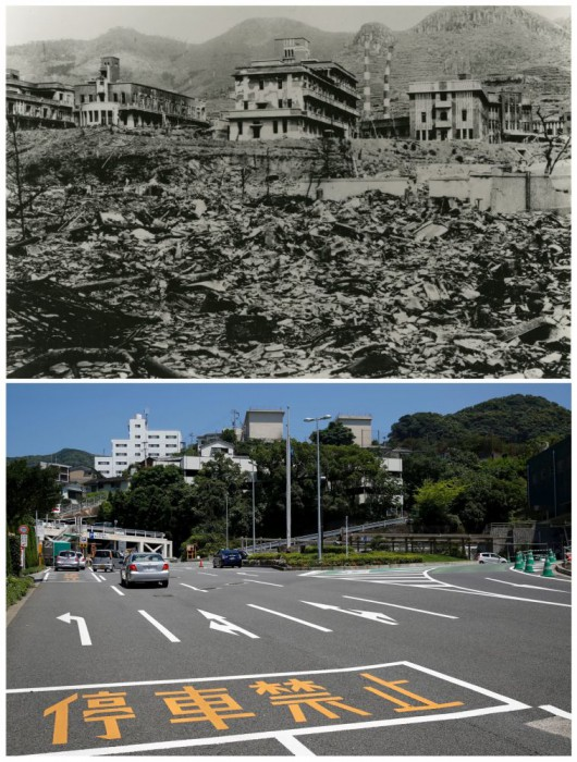Reruntuhan Nagasaki Medical College yang disebabkan oleh bom atom Nagasaki pada 9 Agustus 1945 dan lokasi yang sama pada 31 Juli 2015.