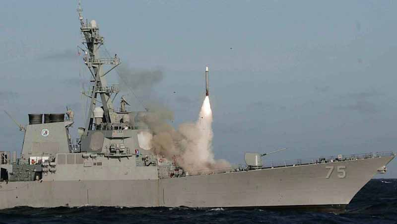 A Tomahawk Block IV cruise missile is test fired from the USS Donald Cook