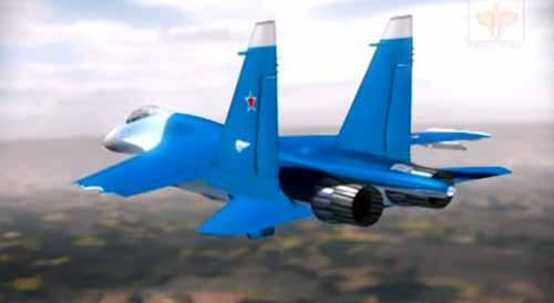 Su-27 with its port wing broken