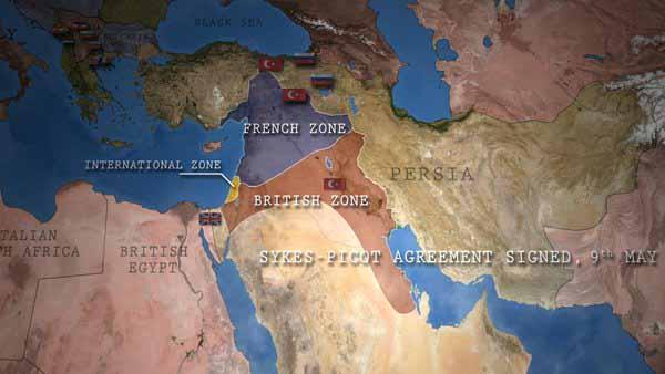 Pembagian wilayah bedasarkan perjanjian Sykes-Picot (Epic History TV)