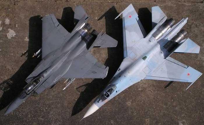 Image result for F-15 Eagle vs Su-27 Flanker